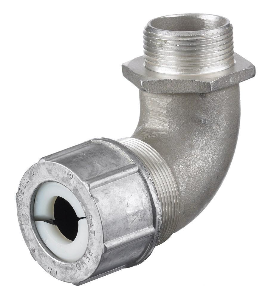 Connector cord 90° male aluminium 1-1/2