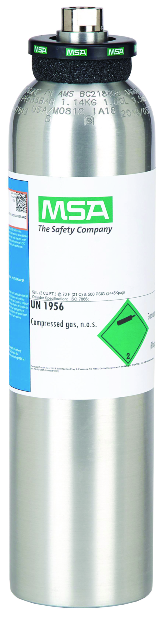 GASCO 105L-37-1000 Calibration Gas Cylinder with 1000 ppm Carbon Dioxide 105 L Aluminum and 5//8-18 UNF Valve Inlet Connection Balance Air